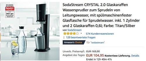 SodaStream CRYSTAL 2.0 Wassersprudler inkl. 1 Zylinder und 2 Glaskaraffen - jetzt 13% billiger