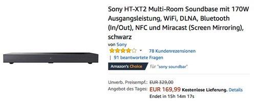 Sony HT-XT2 Multi-Room Soundbase mit 170W Ausgangsleistung - jetzt 21% billiger