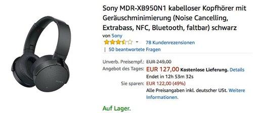 Sony MDR-XB950N1 kabelloser Kopfhörer mit Geräuschminimierung - jetzt 21% billiger