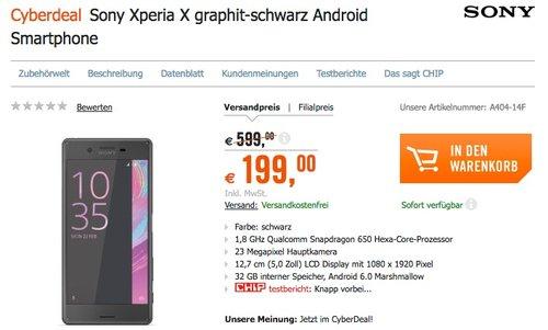 Sony Xperia X Smartphone graphit-schwarz - jetzt 16% billiger