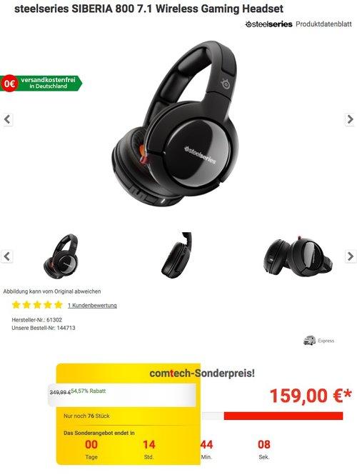 steelseries SIBERIA 800 7.1 Wireless Gaming Headset schwarz - jetzt 43% billiger