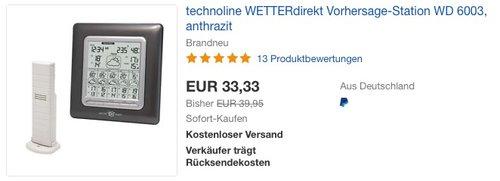 technoline WETTERdirekt Vorhersage-Station WD 6003 - jetzt 17% billiger