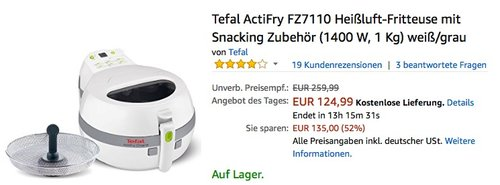 Tefal ActiFry FZ7110 Heißluft-Fritteuse mit Snacking Zubehör - jetzt 21% billiger