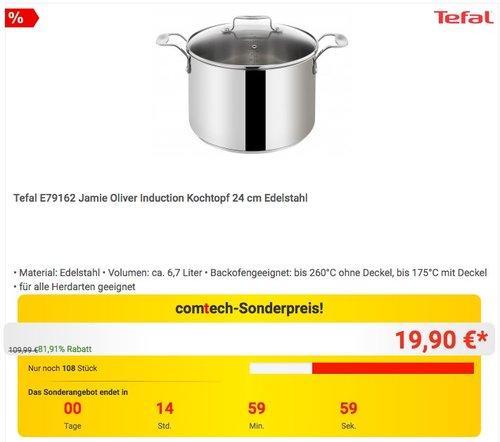 Tefal E79162 Jamie Oliver Induction Kochtopf 24 cm Edelstahl - jetzt 17% billiger