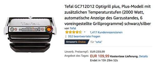 Tefal GC712D12 Optigrill plus - jetzt 16% billiger