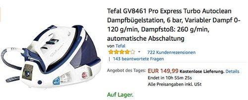 Tefal GV8461 Pro Express Turbo Dampfbügelstation - jetzt 15% billiger