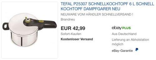 Tefal P2530737 Schnellkochtopf 6 Liter - jetzt 20% billiger