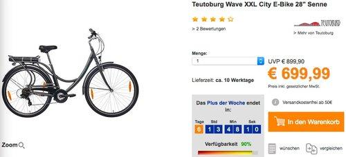 """Teutoburg Wave XXL City E-Bike 28"""" Senne - jetzt 12% billiger"""