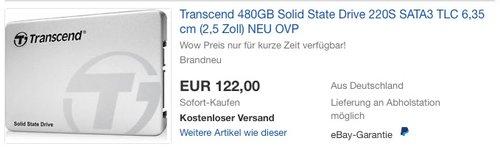 Transcend SSD220S 480 GB interne SSD Festplatte - jetzt 10% billiger