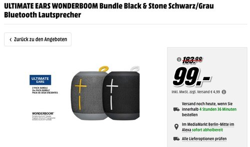 ULTIMATE EARS WONDERBOOM Bundle Black & Stone Schwarz/Grau Bluetooth Lautsprecher - jetzt 37% billiger