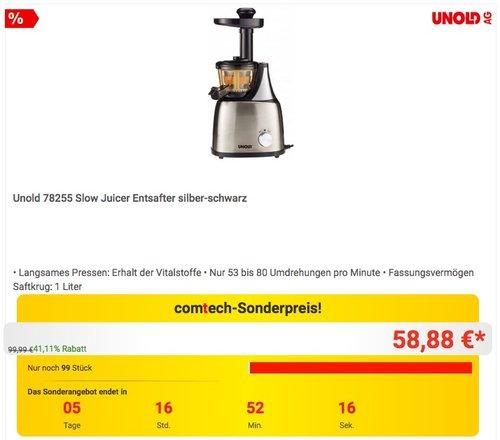 Unold 78255 Slow Juicer Entsafter - jetzt 34% billiger