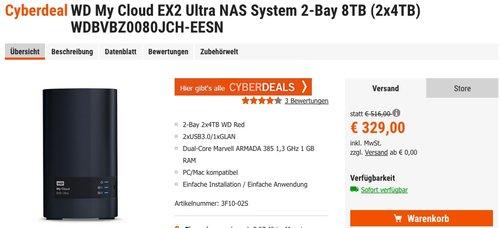 WD My Cloud EX2 Ultra NAS System 2-Bay 8TB - jetzt 9% billiger