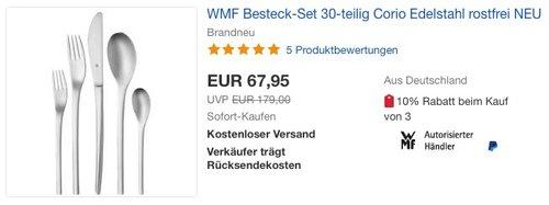 WMF Besteck-Set 30-teilig Corio - jetzt 30% billiger