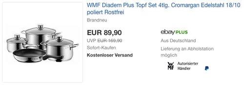 WMF Diadem Plus Topf-Set 4-teilig Fleischtopf Stielkasserolle Pfanne - jetzt 9% billiger