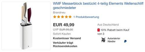 WMF Messerblock mit Messerset 4-teilig - jetzt 23% billiger