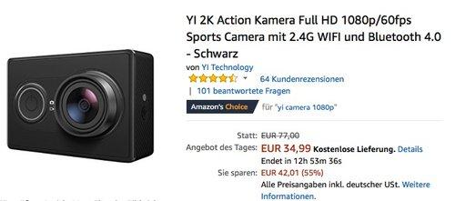 YI 2K Action Kamera - jetzt 22% billiger
