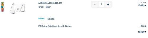 4Uniq 3,66 m Fußballtor 366x198x152 cm - jetzt 10% billiger