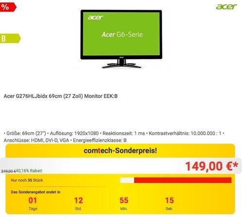 Acer G276HLJ 69 cm (27 Zoll) Monitor - jetzt 17% billiger