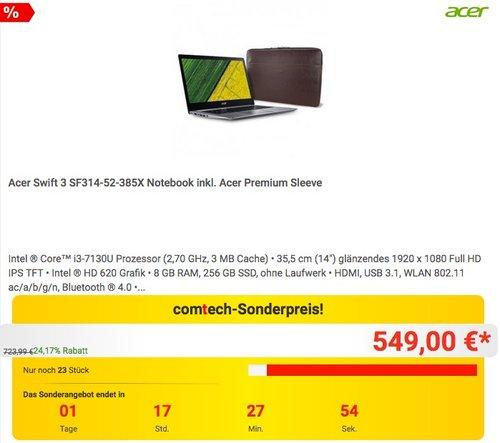 Acer Swift 3 SF314-52-385X (i3-7130U, HD 620 Grafik, 14 Zoll Full HD, 8 GB RAM, 256 GB SSD) Notebook inkl. Acer Premium Sleeve - jetzt 8% billiger