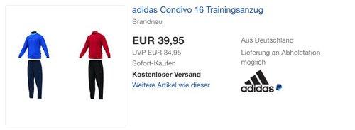 adidas Condivo 16 Trainingsanzug - jetzt 24% billiger