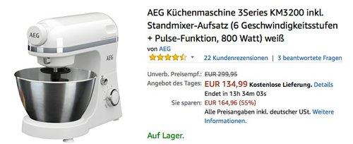 AEG Küchenmaschine 3Series KM3200 inkl. Standmixer-Aufsatz - jetzt 16% billiger
