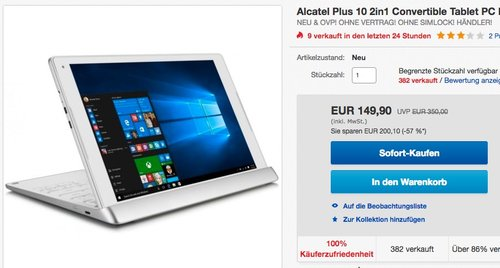 Alcatel Plus 10 2in1 Convertible Tablet PC - jetzt 12% billiger