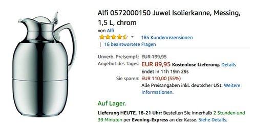 Alfi 0570.219.100 Isolierkanne Juwel Metall lackiert, 1 L, polar weiß - jetzt 19% billiger