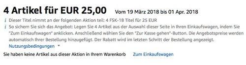Amazon: 4 FSK-18 Titel für 25 EUR, bis 01.04.18 - jetzt 49% billiger
