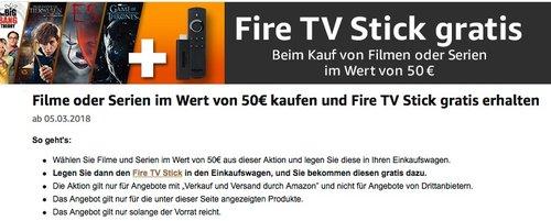 Amazon: Filme oder Serien im Wert von 50€ kaufen und Fire TV Stick gratis erhalten - jetzt 44% billiger