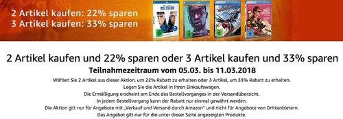 Amazon Filmfest: 2 Filme mit 22 Prozent Rabatt, 3 Filme mit 33 Prozent - jetzt 33% billiger
