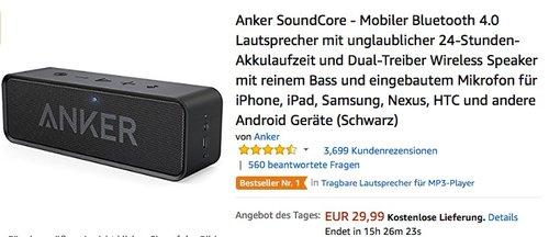 Anker SoundCore - Mobiler Bluetooth 4.0 Lautsprecher - jetzt 19% billiger