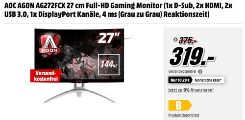 AOC Agon AG272FCX 68 cm (27 Zoll) Curved Monitor - jetzt 11% billiger