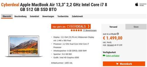 """Apple MacBook Air 13,3"""" 2,2 GHz Intel Core i7 8 GB 512 GB SSD BTO - jetzt 8% billiger"""