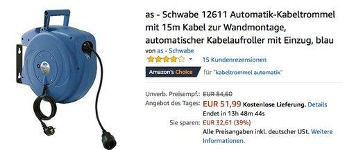 as - Schwabe 12611 Automatik-Kabeltrommel mit 15m Kabel zur Wandmontage - jetzt 20% billiger