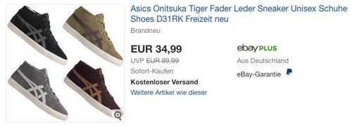 Asics Onitsuka Tiger Fader Leder Sneaker - jetzt 8% billiger