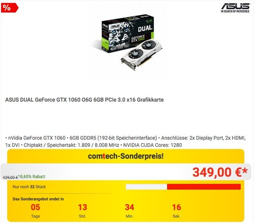 ASUS DUAL GeForce GTX 1060 O6G 6GB PCIe 3.0 x16 Grafikkarte - jetzt 12% billiger