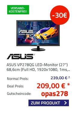 "ASUS VP278QG LED-Monitor (27"") 68,6cm - jetzt 12% billiger"