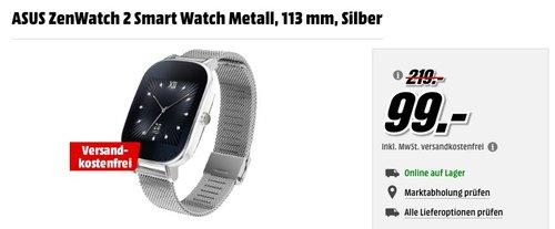 ASUS ZenWatch 2 Smart Watch Metall, 113 mm, Silber - jetzt 37% billiger