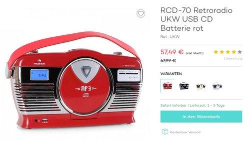 auna RCD-70 • UKW-Radio • Retro-Radio • USB-Port • CD- und MP3-Player - jetzt 18% billiger