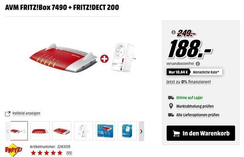 AVM FRITZ!Box 7490 WLAN-Router + FRITZ!DECT 200Funksteckdose - jetzt 19% billiger