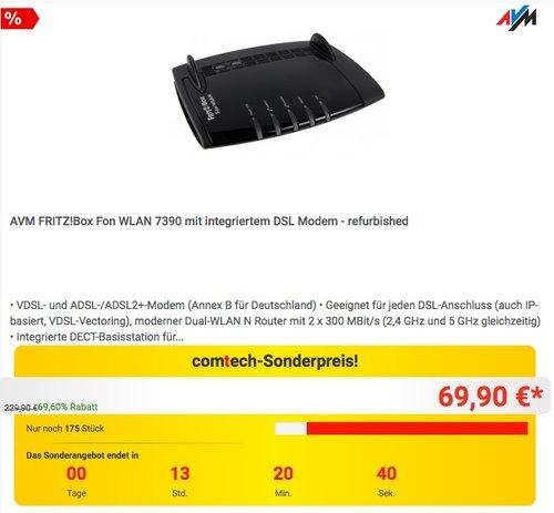 AVM FRITZ!Box Fon WLAN 7390 mit integriertem DSL Modem - refurbished - jetzt 21% billiger