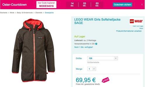 Babymarkt.de 15% Rabatt auf Mode: LEGO WEAR Girls Softshelljacke SAGE - jetzt 15% billiger
