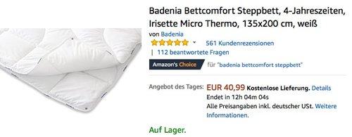 Badenia Bettcomfort Steppbett, 4-Jahreszeiten, Irisette Micro Thermo, 135x200 cm Decke - jetzt 34% billiger