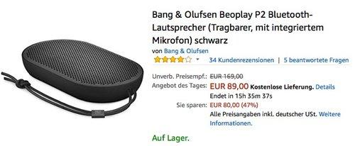 Bang & Olufsen Beoplay P2 Bluetooth-Lautsprecher schwarz - jetzt 29% billiger