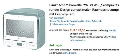 Bauknecht Mikrowelle MW 39 - jetzt 16% billiger