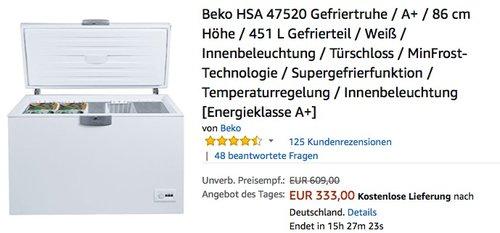 Beko HSA 47520 Gefriertruhe - jetzt 9% billiger
