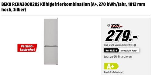 BEKO RCHA300K20S Kühlgefrierkombination (A+, 270 kWh/Jahr, 1812 mm hoch, Silber) für 279€ - jetzt 14% billiger