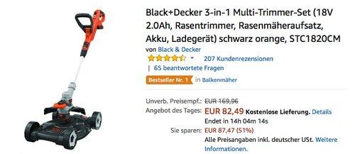 Black+Decker 3-in-1 Multi-Trimmer-Set (18V 2.0Ah, Rasentrimmer, Rasenmäheraufsatz, Akku, Ladegerät) - jetzt 16% billiger