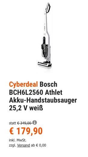 Bosch BCH6L2560 Athlet Akku-Handstaubsauger 25,2 V weiß - jetzt 8% billiger