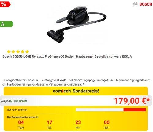 Bosch BGS5SIL66B Relaxx'x ProSilence66 Boden Staubsauger Beutellos - jetzt 28% billiger